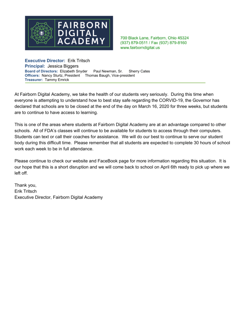 fairborn digital academy's coronavirus official statement