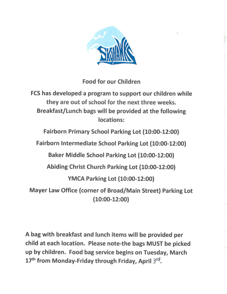 find food for children provided by fairborn school district during the coronavirus